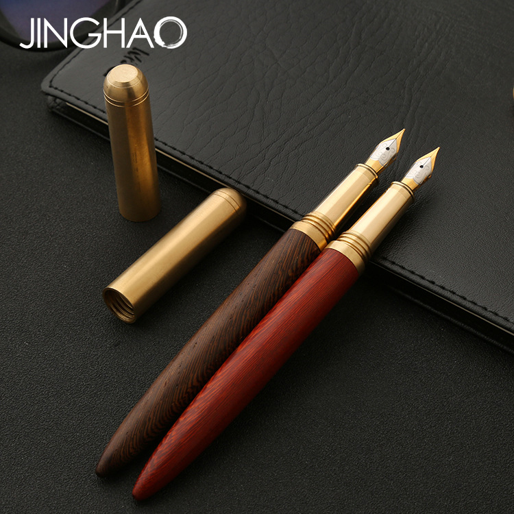 1pc/lot Retro Copper Wood Fountain Pen Gold Clip Medium Nib 0.7mm Ink Pens the Best Christmas Gift Stationery for Friend Familes