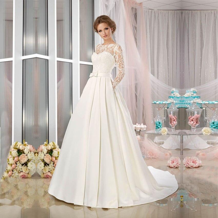 Vestido De Noiva See Through Lace Long Sleeve Wedding