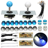 Mayitr DIY Arcade Set Kits Push Buttons Replacement Parts USB Controller Joystick LED Push Button Set