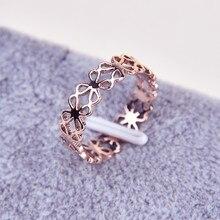 Martick 316L нержавеющая сталь Розовое золото-цвет полый цветок кольцо модные украшения для женщин размер 4-9 R28