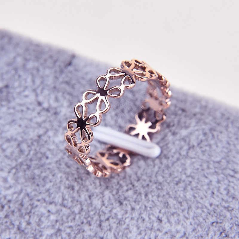Martick 316L Stainless Steel Rose Gold-color Hollow Flower Ring Fashion Jewelry For Women SIze 4-9 R28