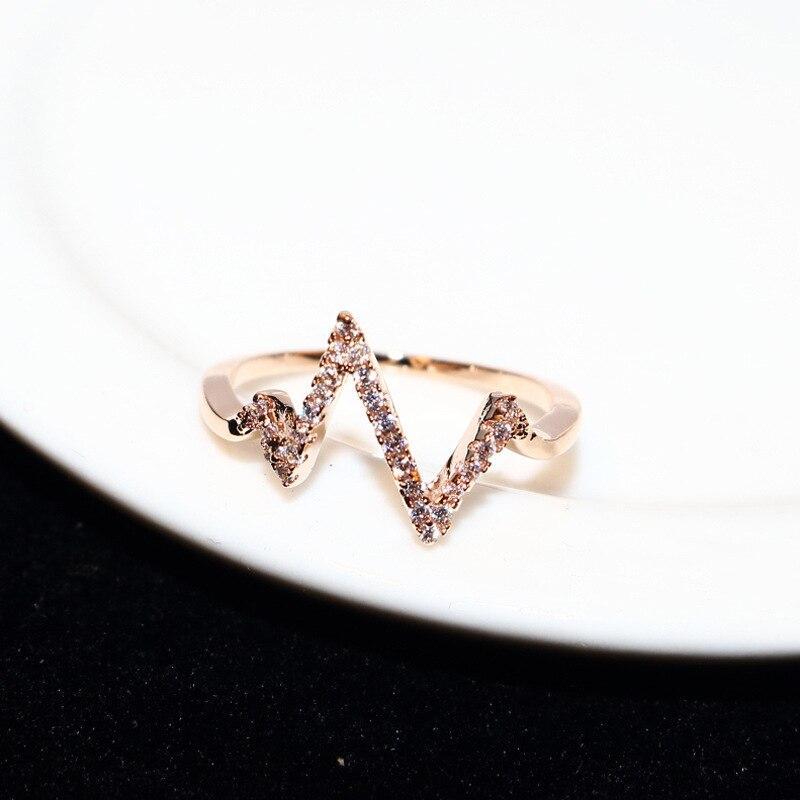 Купить женское кольцо с электрокардиограммой молнией золотистые кольца