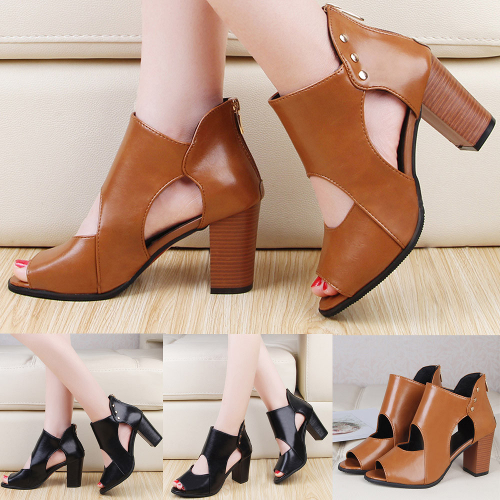 Womens Fish Mouth High Heel Zipper Sandals Leather Short Boots Single Shoes High Heels Sexy Pointed Toe Slip-on Wedding Party Sh cloth slip on bowtie pointed toe womens sandals