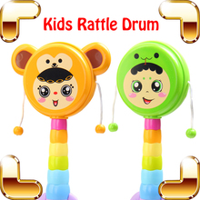 New Coming Gift Baby Rattle Drum Music Toy For Kids Hand Drum Crisp Game Musical Education Toys Instrument Percussion Shaking