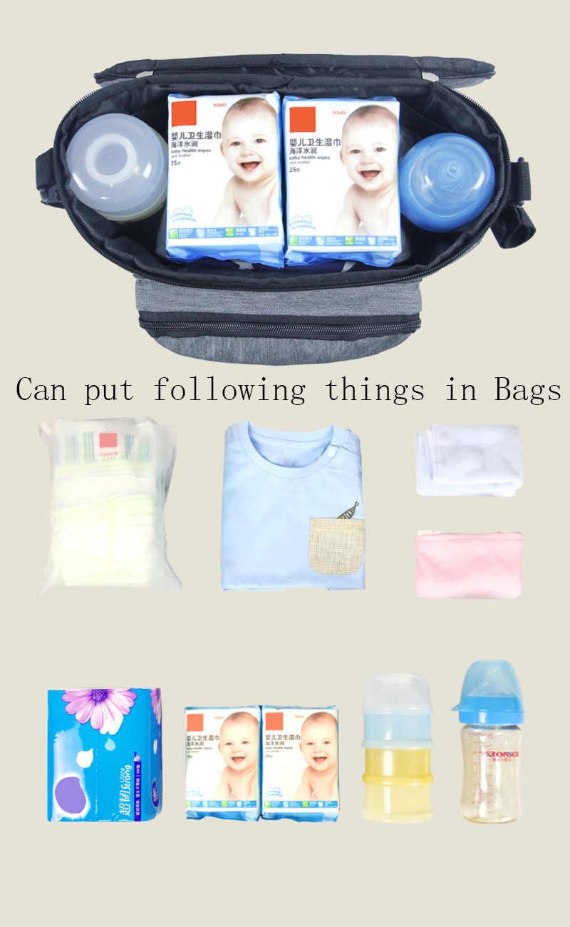 สีเทาขนาดใหญ่เด็กรถเข็นเด็กกระเป๋าจัดเก็บ MOM Travel แขวนรถเข็นเด็ก Mummy ผ้าอ้อมกระเป๋ารถเข็นเด็กอุปกรณ์เสริม