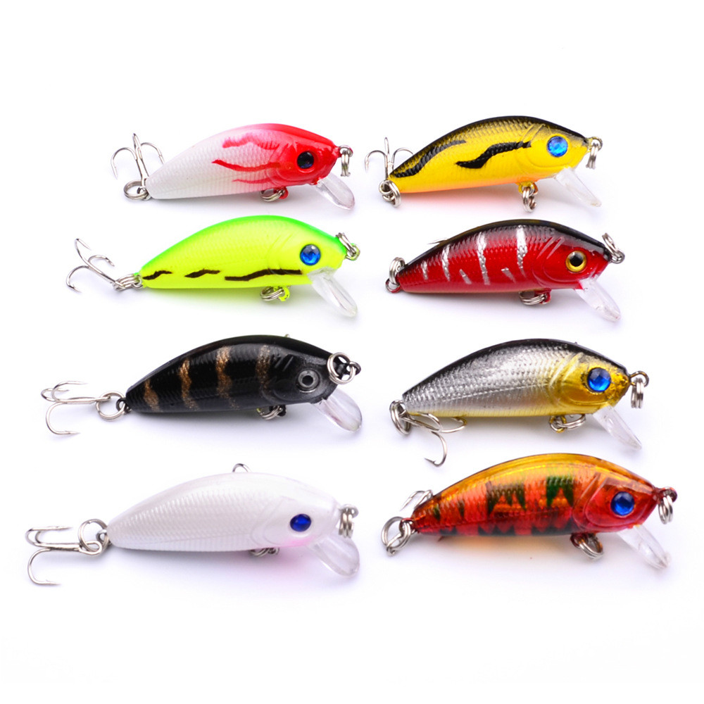 8pcs/lot 5cm 3.6g bionic bait Hard fishing lure 3D eyes Minnow fishing lures Artificial Carp Crankbait Fishing Tackle trulinoya carp fishing lure minnow lures bait artificial 88mm 7 2g 3d eyes treble hook hard bait two segments fishing tackle