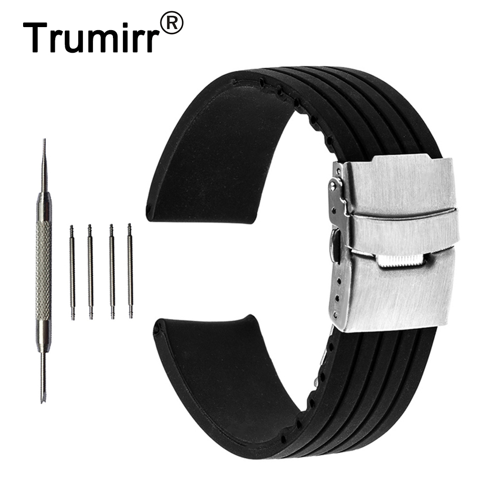 22mm Silicone Rubber Watch Band for Samsung Gear S3 Classic / Frontier Stainless Steel Buckle Strap Wrist Belt Bracelet Black 22mm stainless steel watch band for samsung gear s3 classic frontier butterfly buckle strap wrist belt bracelet black silver