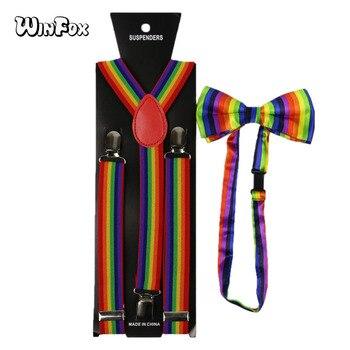 Winfox Fashion 2.5cm Wide Rainbow Striped Suspenders Bow Tie Set For Men Women Bowties Brace Suspensorio 2019 fashion classic striped rhinestone bow tie for women cloth art pearl luxury fabric bowties dress shirt clothing accessories