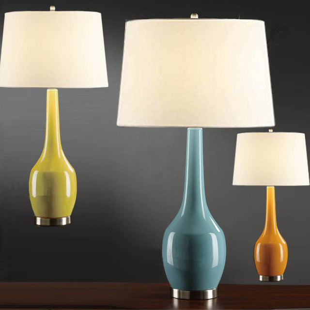 American Ceramic Table Lamp Gourd Chinese Bedroom Bedside Lamp Creative  Living Room Table Lamp Blue Yellow