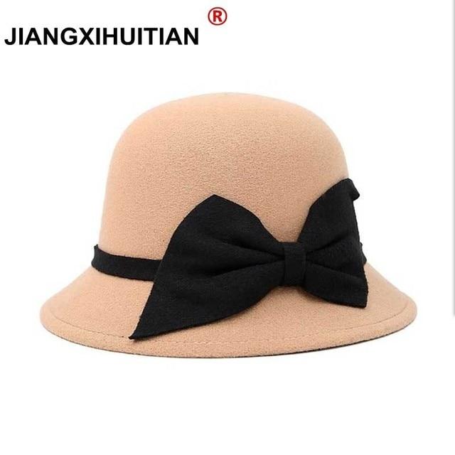 8c26e09a057dd3 2017 New fashion Hats For Women Soft Vintage Wide Brim Wool Felt Bowler  Fedora Hat Floppy