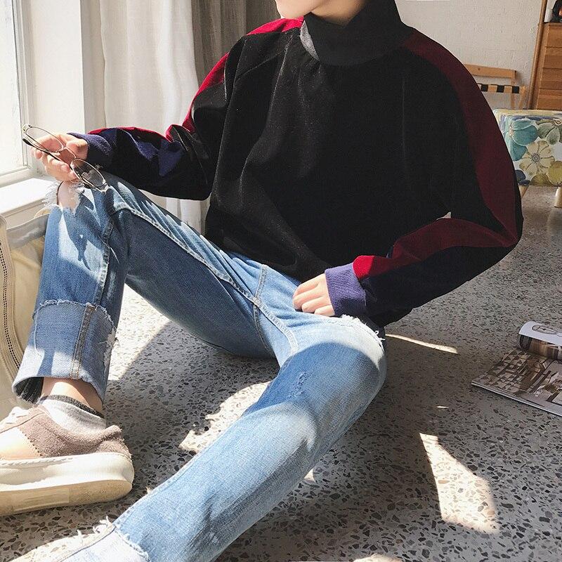 Casual Strip Suede Fabric Turtleneck Long Sleeve Men Hoodies 2019 Autumn Streetwear Warm High Loose Leisure Pullover Male M 2XL in Hoodies amp Sweatshirts from Men 39 s Clothing