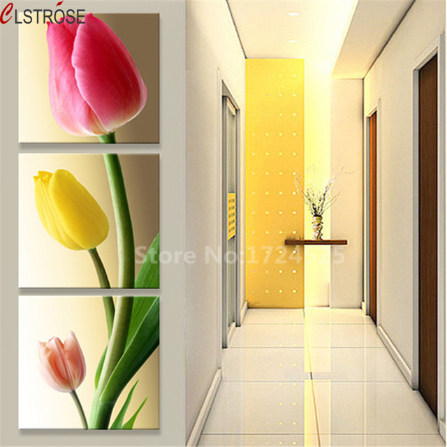 CLSTROSE 6 Style Available Modern Corridor Decor Flower Painting Canvas Printed Tulip Rose Flower Wall Pictures For Living Room