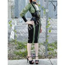 Женский дизайн цельное латексное платье+ корсет