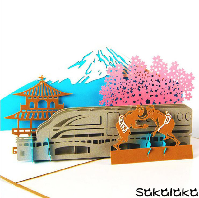 Creative handmade 3d japan fuji mountain paper cut tourism memorial creative handmade 3d japan fuji mountain paper cut tourism memorial greeting card post card business colourmoves
