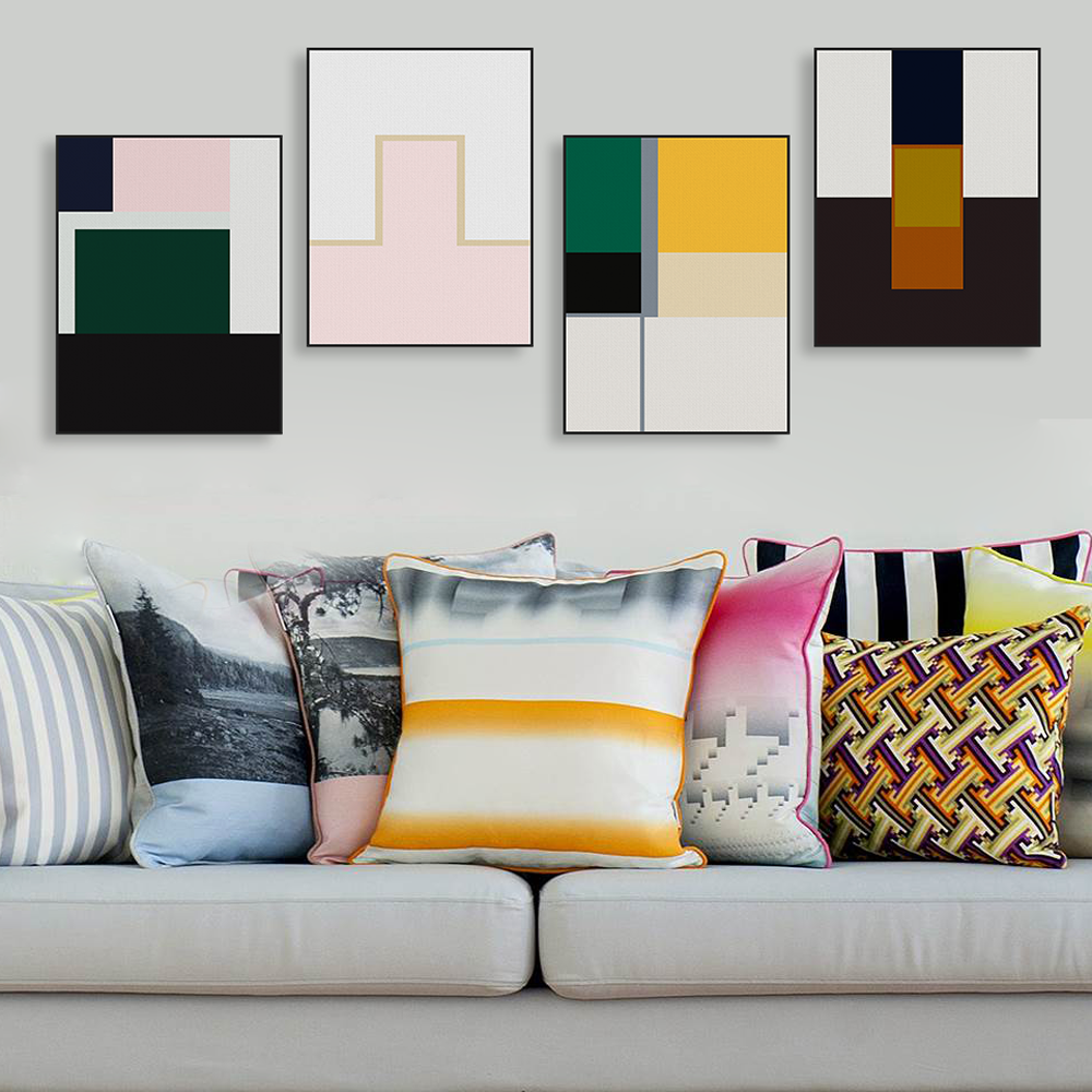 Abstract Color Geometric Shape Canvas Big Poster Prints Wall Art Picture  Paintings No Frame Modern Nordic