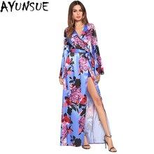 AYUNSUE Floral Print Bohemian Summer 2018 Women Sex Blue Beach Dress Long  Sleeve 393248f0f671