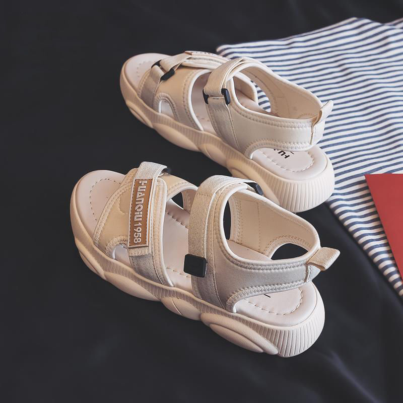 2019 Summer White Outdoor Flat Sandals Female Platform Sports Sandals Soft Comfortable Roman Sandals For Women Beach Shoes Black