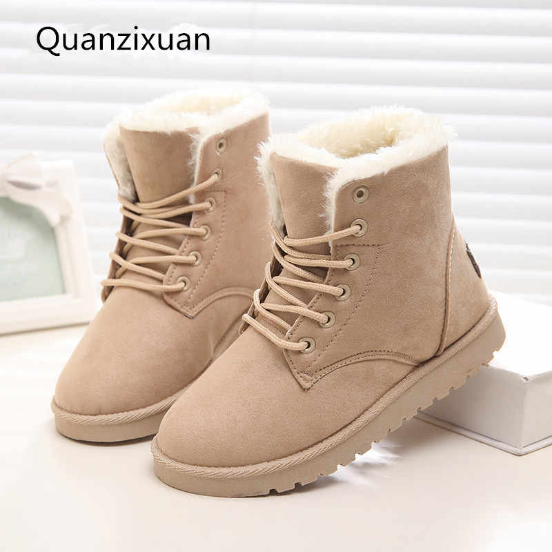 Women Boots Winter Suede Warm Fur Boots Women Shoes Solid Short Plush Women Snow Boots Plus Size 41 42 43
