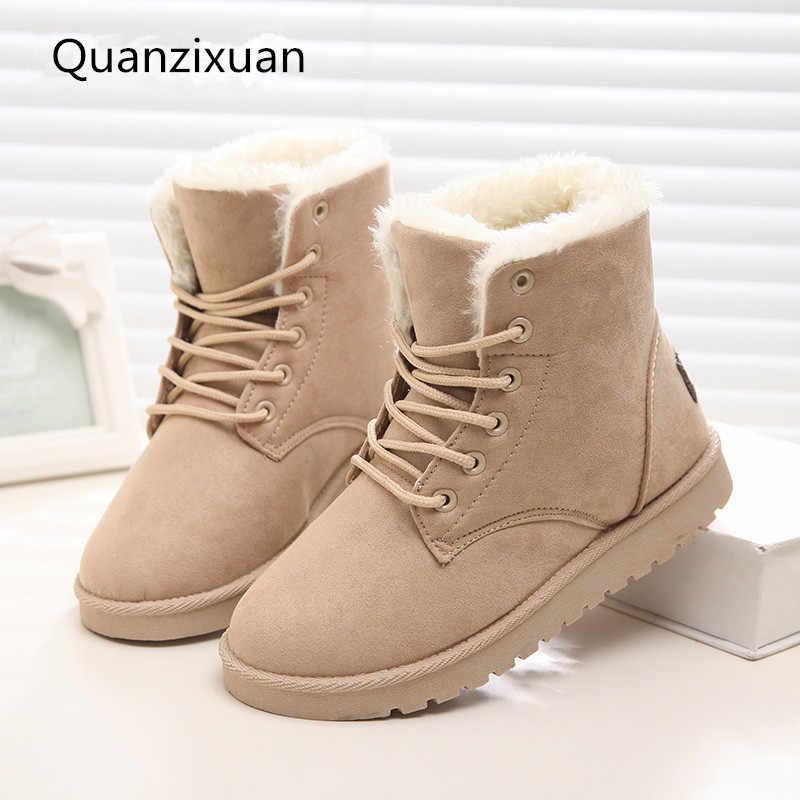 Kadın botları kış süet sıcak kürk çizmeler kadın ayakkabıları katı kısa peluş kadın kar botları artı boyutu 41 42 43