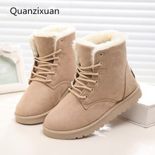 Mulheres Botas de Pele Quente Ankle Boots Para Mulheres Botas de Inverno Mulheres Sapatos Da Moda Botas de Neve Feminino Sapatos de Inverno Apartamentos Mulheres booties(China)