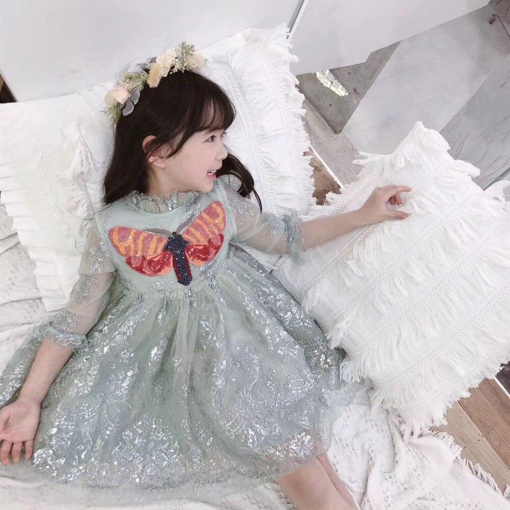 Bébé fille robe de princesse à manches longues Sequin papillon enfants robes pour filles brillant dentelle robe de mariée