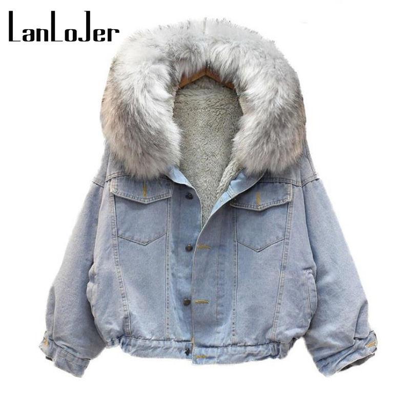 hot sale fashion winter lamb wool denim jacket with fleece hooded female big fur collar coat thick cotton padded loose warm Z30 winter autumn fur collar cowboy parka faux lamb wool warm denim jacket coat mid long thick womens jeans parkas