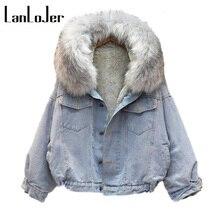 hot sale fashion winter lamb wool denim jacket with fleece hooded female big fur collar coat thick cotton padded loose warm Z30