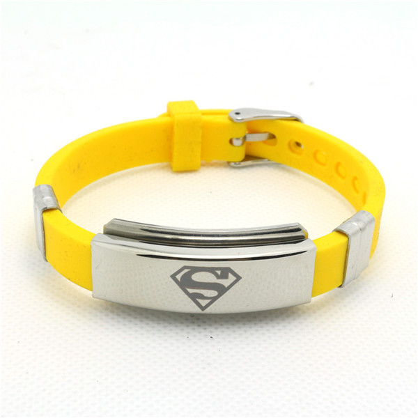 Fast Shipping Whole Fashion Jewelry Silicone Rubber Silver Superman Bracelet Stainless Steel Usa Hero Cool