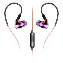 Dynamic Dual Driver Earphones Waterproof Sport Running Earphone Diamond Design Stereo HIFI Bass Earbuds with Mic for Smartphone