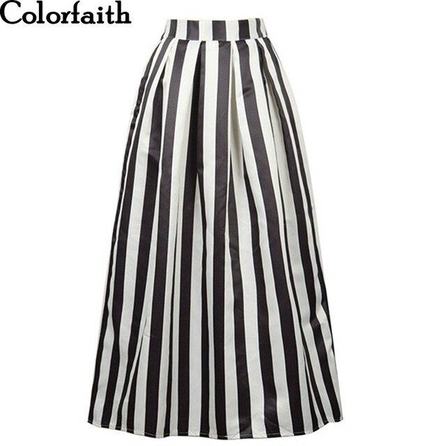 f418b54cc3 Muslim Women100cm Non-transparent Fashion Satin Long Skirt Vintage Retro  Striped Print High Waist Pleated Maxi Skirt SK090