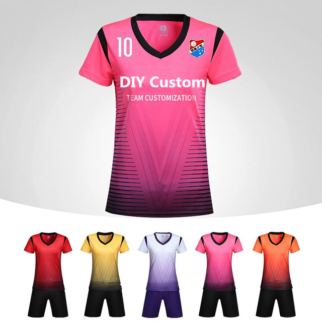 f5b25763c319 New Women Soccer Jerseys Sets Volleyball Tracksuits Lady Sports Kit  Football Uniforms Jerseys Shirts Breathable Custom Printing