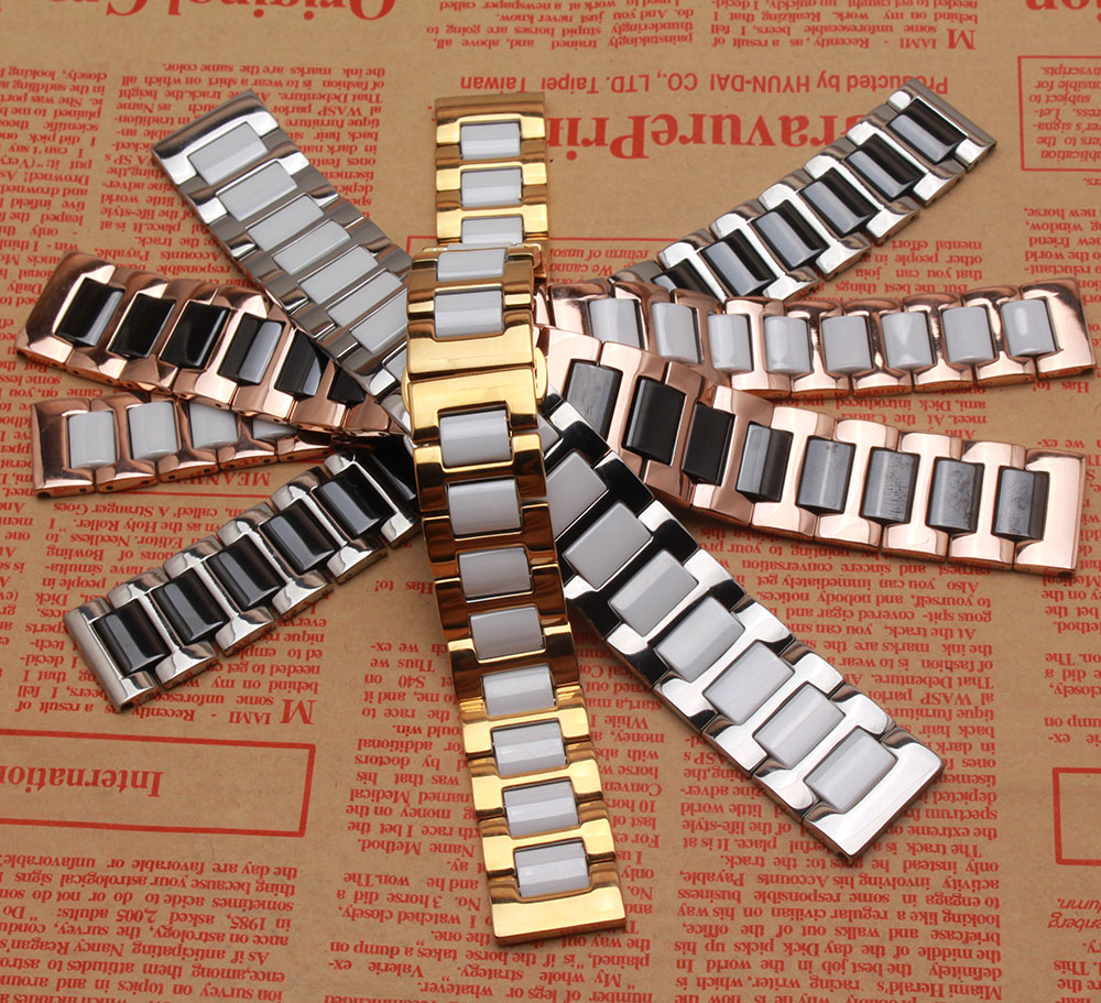 Black and White ceramic Watchbands with metal Silver Gold Rosegold watch accessories fit smart watch Gear S3 14 16 18 20mm 22mm