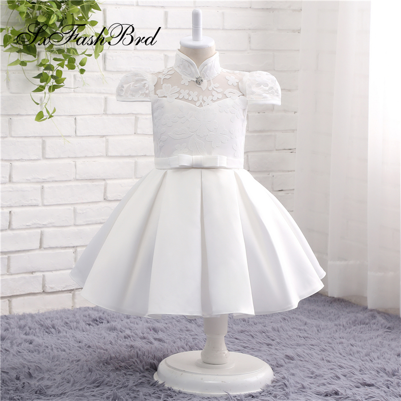 Lovely   Flower     Girl     Dresses   High Neck A Line Satin   Girl   Pageant Party   Dress   Robe Mariage Fille   Dress