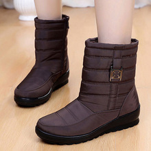 Waterproof Women Boots Female Winter Warm Fur Platform Ankle Bota Shoes Booties