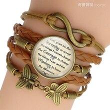 Serenity Prayer Inspirational Quote Jewelry Glass Cabochon Combination Bracelet Handmade Accessroies
