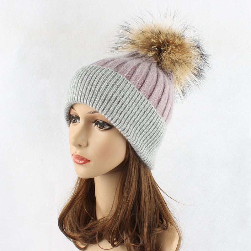 Brand Style Huality 100% Merino Wool Beanie Hats With Fluffy Real Natural Raccoon Fur Pom Poms 6 Colors Winter Beanies For Women