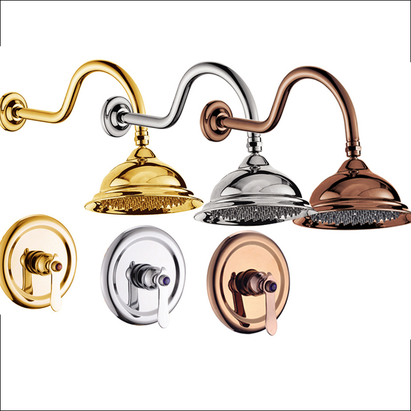 Luxury Wall Mounted Bathroom 8 Brass Rain Shower Head Shower Faucet Taps Single Handle Hot and