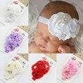 2015 NEW Baby Атласная Раффлед Цветок с перл сплава кнопку оголовье несколько цветок девочки аксессуары для волос