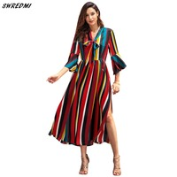 SWREDMI Women Boho Rainbow Striped Maxi Dress Holiday Festival Long Sleeve Spring Dress Elegant Woman Party Long Lapel Dresses