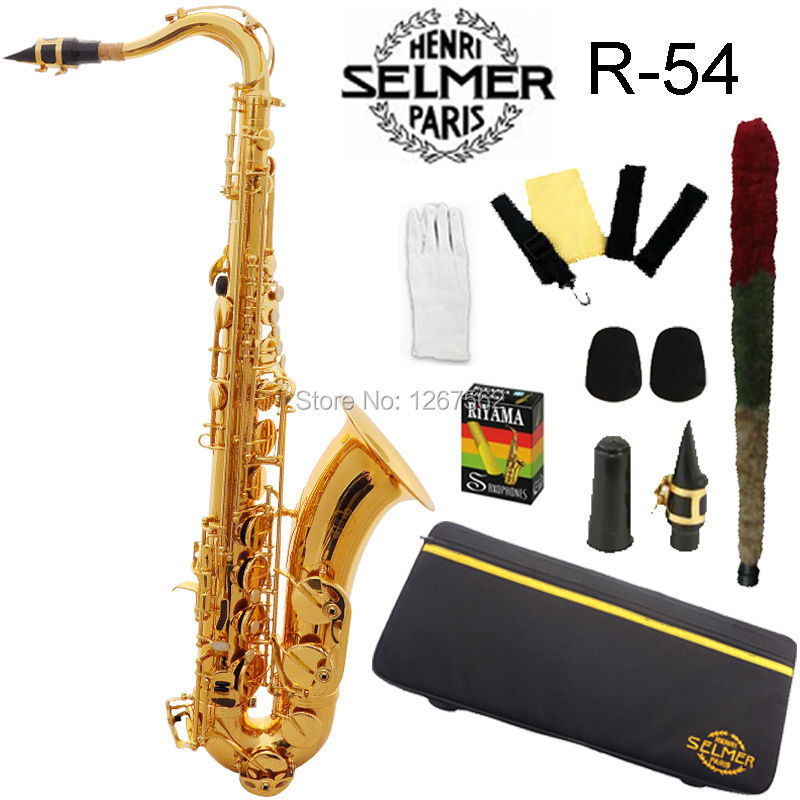 Brand New Genuine France Selmer Tenor Saxophone 54 Professional B Gold Sax mouthpiece With Case and Accessories
