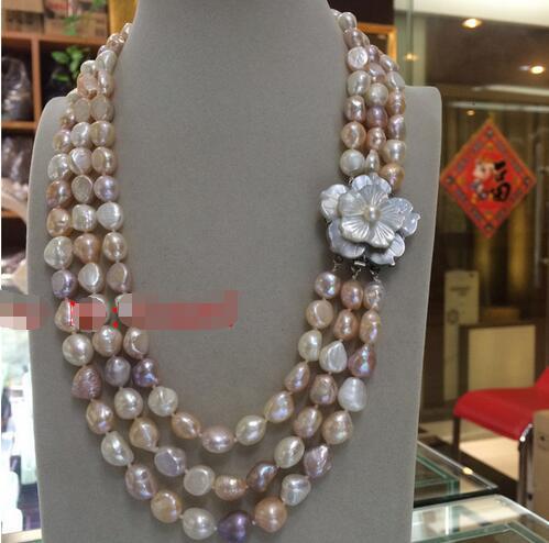 Grand 3row 10 11mm baroque blanc rose pourpre d'eau douce collier de perles>>Wholesale Free Shipping