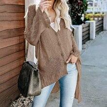 купить!  Женская мода Boho Flare рукавом вязать кардиган Новый V-образным вырезом кнопки сплошной цвет Loose