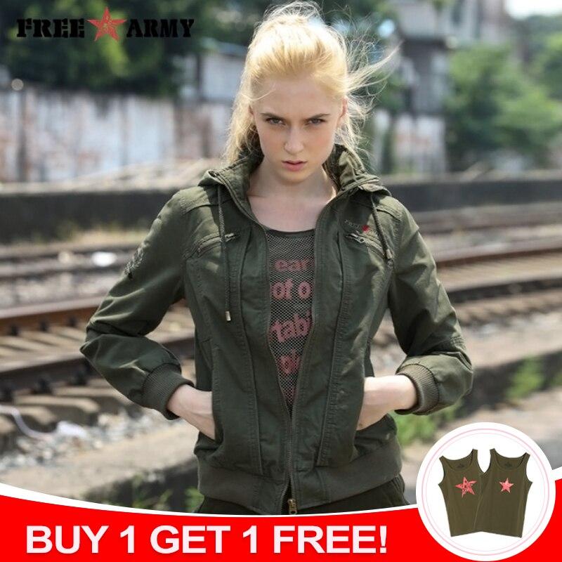 81d3c1bee € 36.01 39% de réduction|Marque qualité à capuche femmes veste printemps  automne vestes femmes mode dames veste courte vert Bomber vestes Outwear ...
