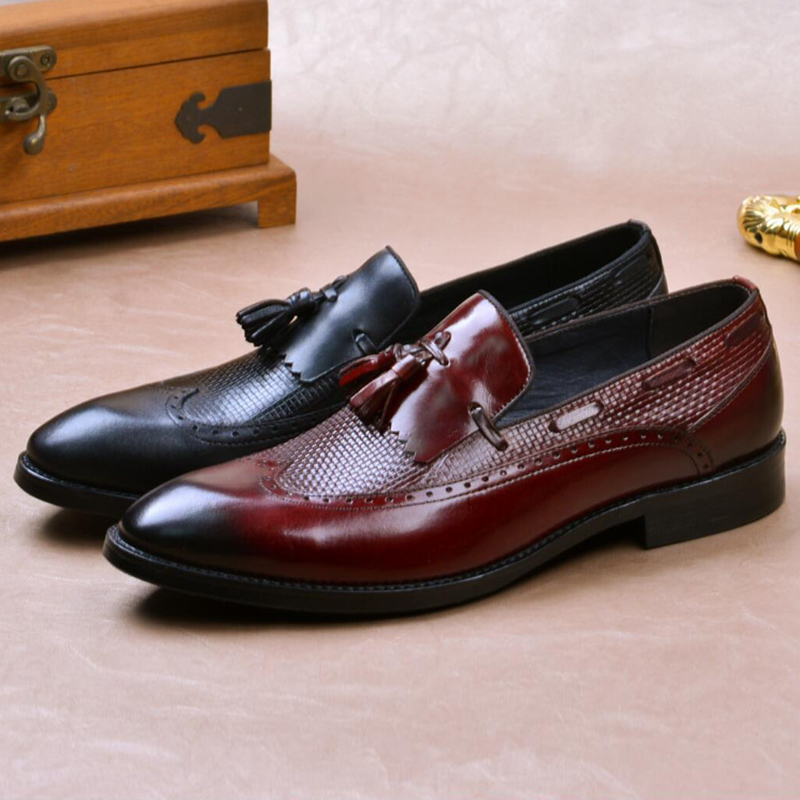 British Man Formal Dress Carved Wingtip Shoes Genuine Leather Handmade Loafers Round Toe Slip on Men
