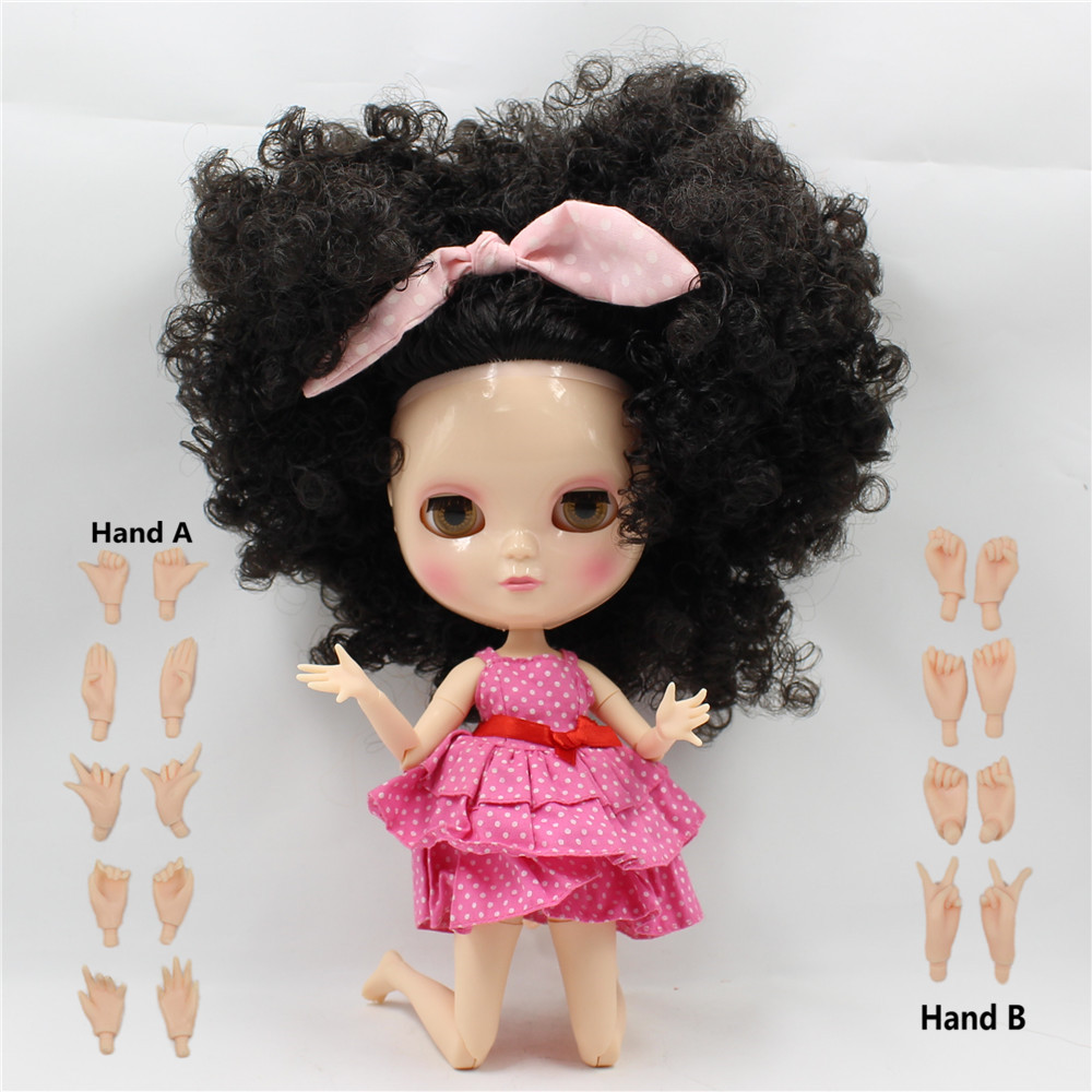 Free shipping Nude ICY Doll BL9103 Black wild-curl up hair the same as Blyth doll with makeup,JOINT body, 1/6 doll,30cm цена и фото