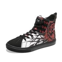 Унисекс граффити прохладный холст скейтборд обувь женщина хип хоп тапки Улица спортивная ходьба Скейтбординг сапоги Для мужчин вулканичес