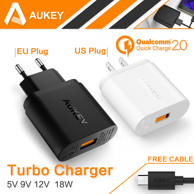font b Aukey b font Qualcomm Quick Charge 2 0 Wall Charger Black White 18W