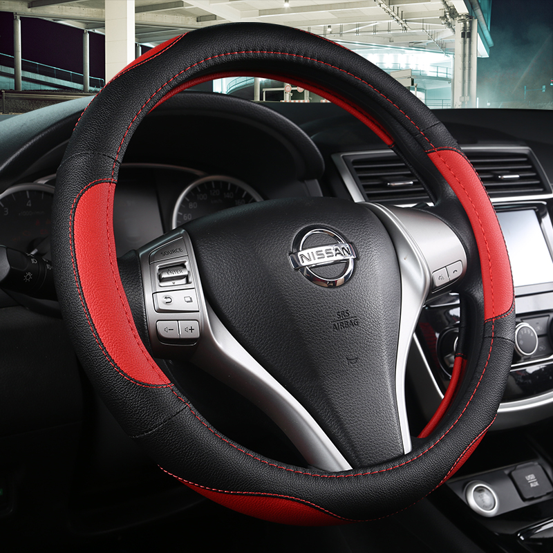 KKYSYELVA Steering-Wheel Black Car Sport Steering Wheel Cover Leather Covers Universal 38CM wheel cover