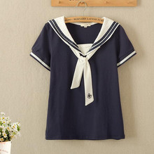 Mori girl small Fresh navy style anchor tie T-shirt cotton Japanese soft sister t shirt Sailor Girl Tops T196