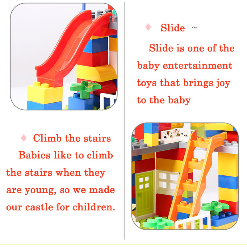 Купить с кэшбэком Classic Big Size Slide Building Blocks House Roof Big Particle Assembly Blocks Plastic Castle Compatible Duploed DIY Bricks Gift